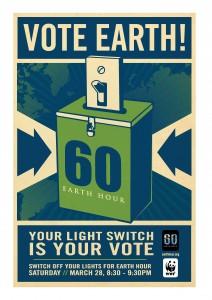 Earth Hour Poster designed by famed Obama-portrait artist Shepard Fairey.