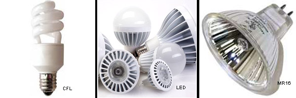 incandescent bulbs are being replaced by CFL and MR16 lights
