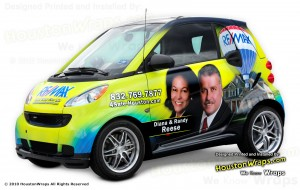 driving a wrapped smart car is a low cost green promotional idea