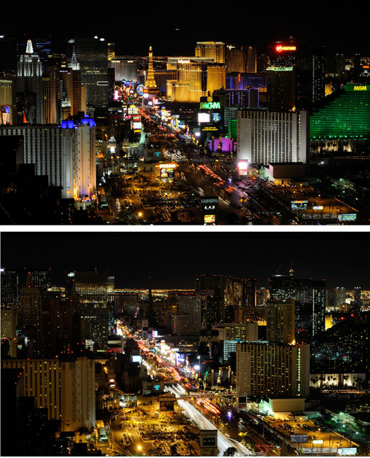 See before and after photographs from Earth Hour 2011