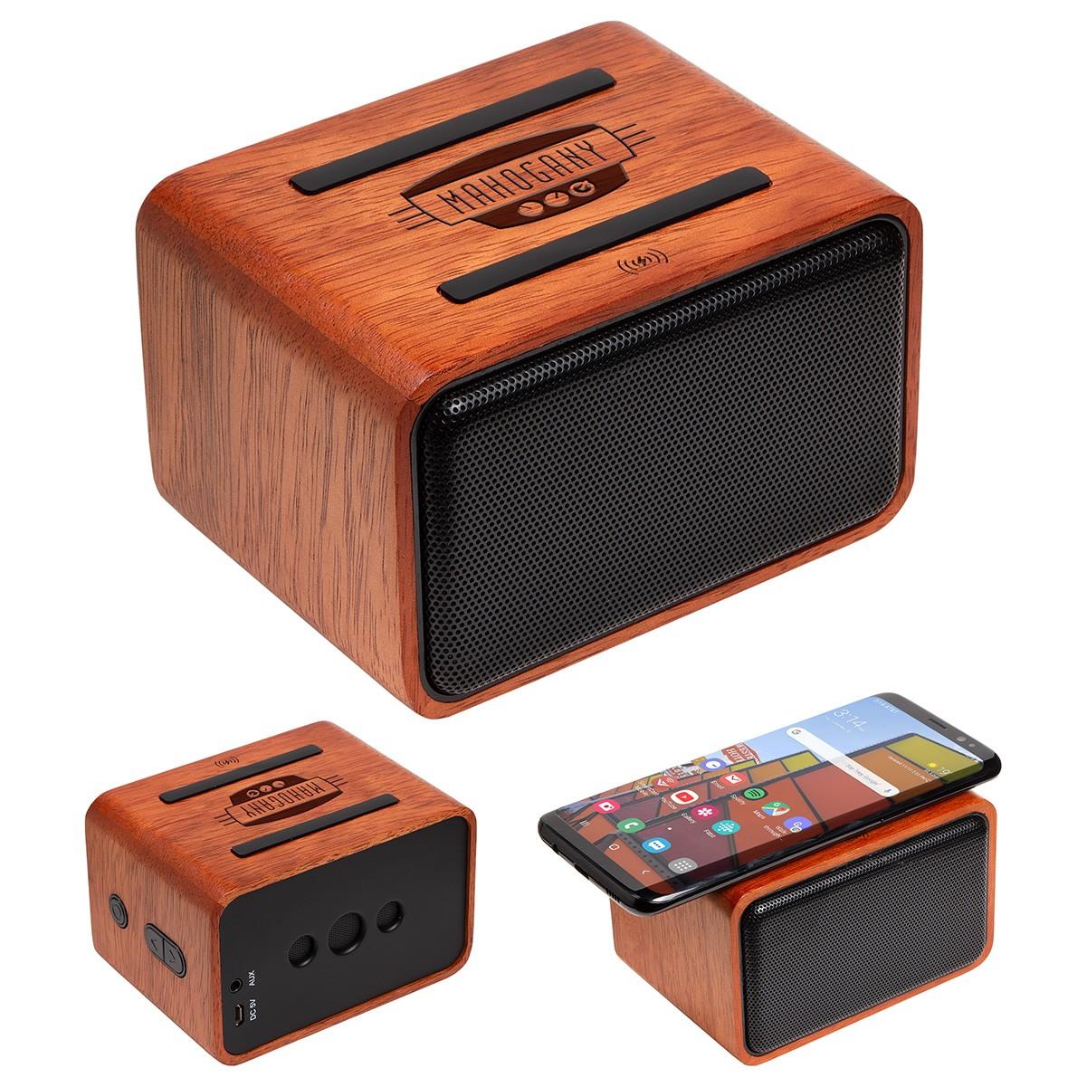 branded wooden speaker