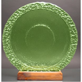Celery Green Bi-Textured Apollo Platter w/ Recycled Wood Base - Glass