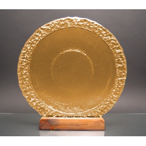 Citrus Yellow Bi-Textured Apollo Platter w/ Recycled Wood Base - Glass