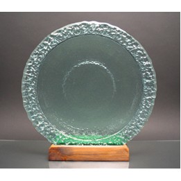 Bi-Textured Apollo Platter. Recycled Glass on Recycled Wood Base.
