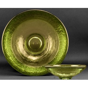 Olive Green Party Bowl Award - Recycled Glass