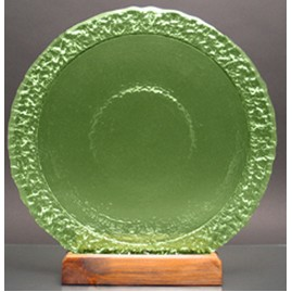 Celery Bi-Textured Apollo Platter. Recycled Glass on Recycled Wood Base.