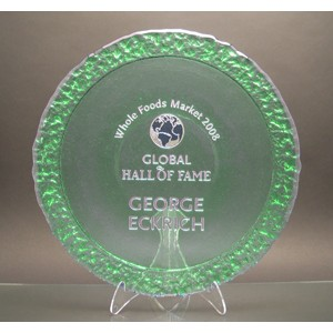 Celery Green Bi-Textured Apollo Platter w/ Acrylic Stand - Recycled Glass