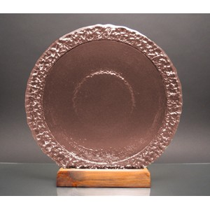 Copper Bi-Textured Apollo Platter w/ Recycled Wood Base - Recycled Glass