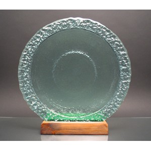 Aqua Blue Bi-Textured Apollo Platter w/ Recycled Wood Base - Recycled Glass