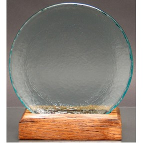 Circle of Excellence Award Plate with 100% Recycled Wood Base. AQUA.